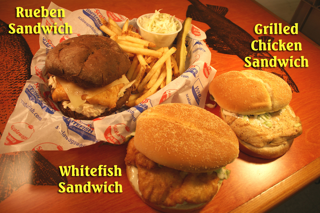 Rueben, Whitefish and Grilled Chicken Sandwiches in Mackinaw City, MI