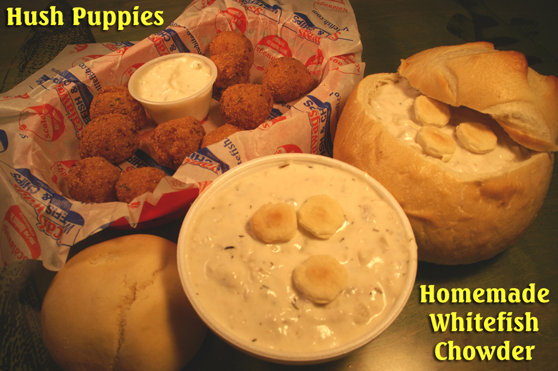 Hush Puppies, Whitefish and Chowder